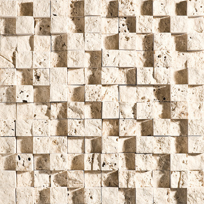Ivory Exposure 1X1 Travertine Mosaics