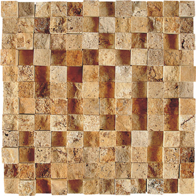 Golden Sienna Exposure 1X1 Travertine Mosaics