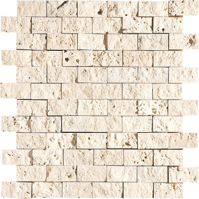 Ivory Exposure 1X2 Travertine Mosaics