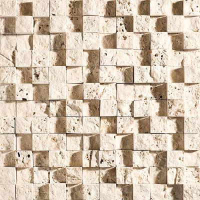Ivory Exposure 1X1 Travertine Mosaics