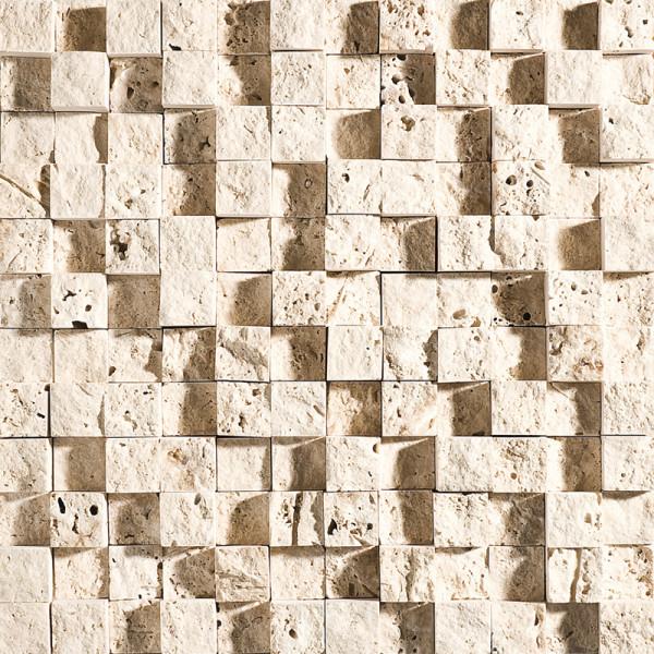 Ivory Exposure 1X1 Travertine Mosaics 1
