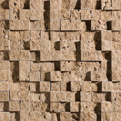 Walnut Dark Exposure 1X1 Travertine Mosaics