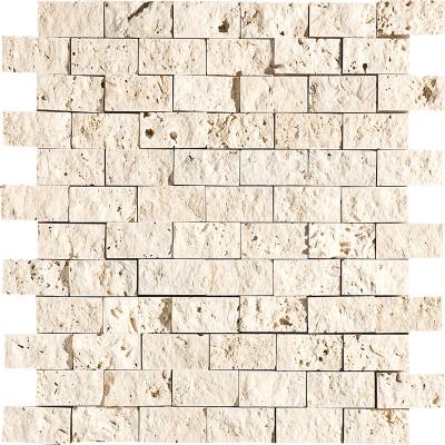 Ivory Exposure 1X2 Travertine Mosaics