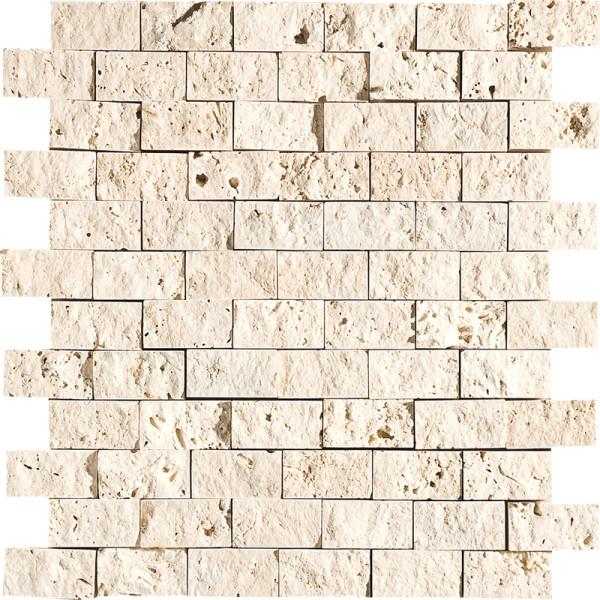 Ivory Exposure 1X2 Travertine Mosaics 1