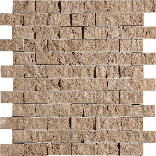 Walnut Dark Exposure 1X2 Travertine Mosaics 1