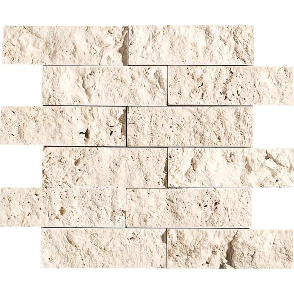 Ivory Exposure 2X6 Travertine Mosaics 1